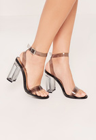 Missguided Black Transparent Block Heel Barely There Sandals