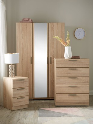 Waterford 4 Piece Package - 3 Door Mirrored Wardrobe, Chest of 5 Drawers and 2 Bedside Chests