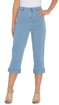Joan Rivers Classics Collection Joan Rivers Petite Stretch Denim Cropped Pants With Cuff