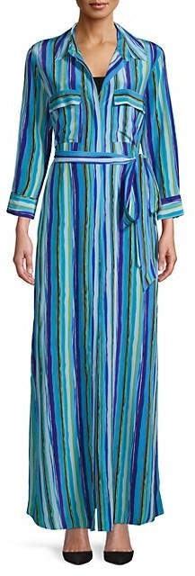 L'Agence Cameron Striped Silk Shirtdress