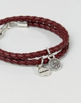 Diesel A-Lucy Wrap Leather Bracelet In Burgundy