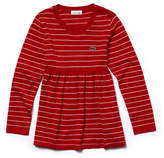 Lacoste Girls' Flared Striped Cotton And Wool Jersey Dress