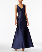 Adrianna Papell Embellished Faille Trumpet Gown