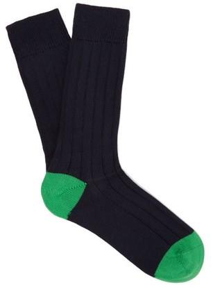 Pantherella Scott Nichol Oxford Ribbed-knit Socks - Navy
