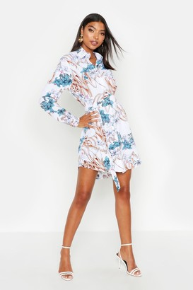 boohoo Tall Floral Print Belted Shirt Dress