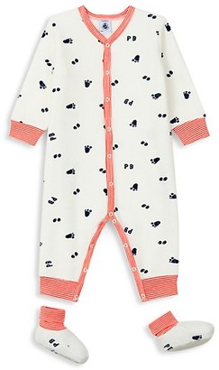 Petit Bateau Baby's 2-Piece All Over Print Coverall & Booties Set
