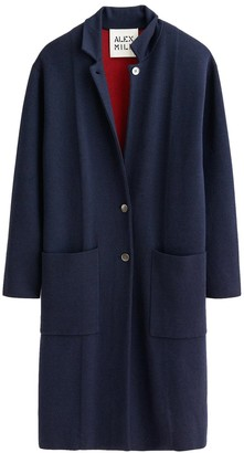 Alex Mill Wool Blend Half Sweater Coat in Navy