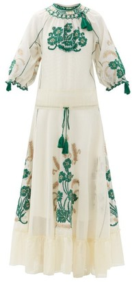 RED Valentino Floral-embroidered Gauze Maxi Dress - Ivory