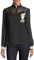 RED Valentino Long-Sleeve Blouse w/ Point d'Esprit & Floral Appliqué; Trim