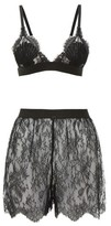 Gucci Flower Lace Shell Bra And High-rise Briefs Set - Womens - Black
