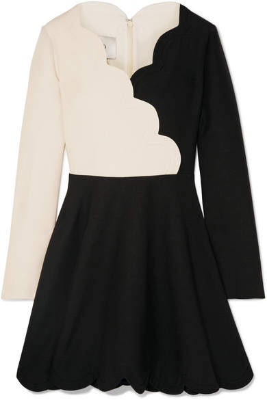 Valentino Scalloped Two-tone Wool And Silk-blend Mini Dress - Black
