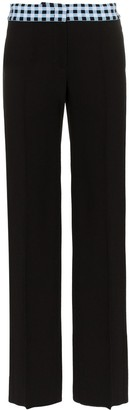 Wales Bonner High Waisted Check Wide-Leg Wool Blend Trousers