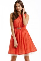 Little Mistress Orange Lace Overlay Belted Fit and Flare Dress