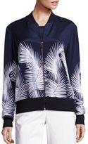 St. John Sport Collection Palm Printed Bomber Jacket