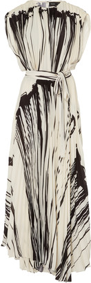 Proenza Schouler Printed Pleated Chiffon Wrap Dress