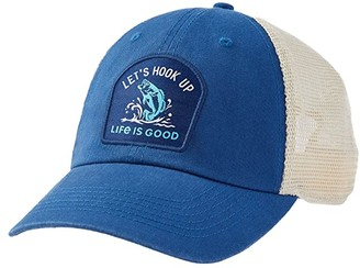 Life is Good Let's Hook Up Soft Mesh Back Cap (Vintage Blue) Caps