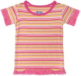 Kickee Pants Print Lace Trimmed Tee (Baby) - Island Girl Stripe-18-24 Months