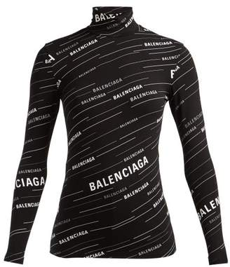 Balenciaga Logo-stripe High-neck Top - Womens - Black White