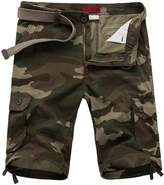 Pishon Men's Cargo Shorts Summer Casual Multi Pockets Flat Front Camo Cargo Shorts