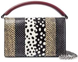 Diane von Furstenberg Bonne Soiree Printed Watersnake-paneled Leather Shoulder Bag
