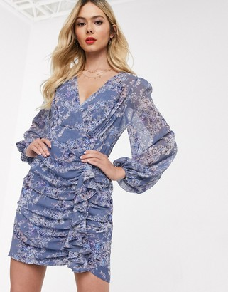 Ever New plunge ruffle mini dress in lavender print