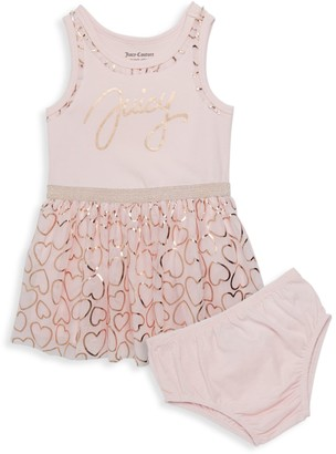 Juicy Couture Baby Girl's 2-Piece Hearts Cotton-Blend Dress & Bloomers Set