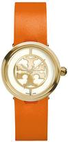 Tory Burch Reva Logo Dial Leather Strap Watch