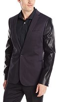 Calvin Klein Men's PD Stretch Sateen with Leather Sleeves Jacket