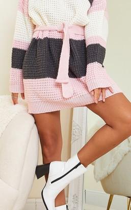 Tsknitw Blush Colour Block Waffle Knitted Jumper Dress