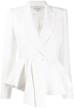 Alexander McQueen Double-Breasted Draped Peplum Blazer