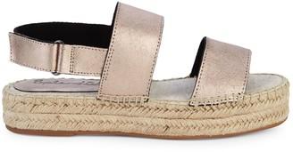 Splendid Aubrey Metallic Leather Espadrille Flatform Slingback Sandals
