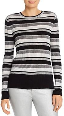 Frame Metallic Striped Rib-Knit Sweater