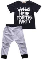Albee Yang Baby Boys Short Sleeve Letter Printed+ Holes Pants 2 Piece Outfit Clothes Set