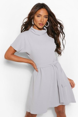 boohoo Roll Neck Belted Shift Dress
