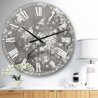 Design Art Designart 'White Cherry Blossoms I' Traditional Large Wall CLock