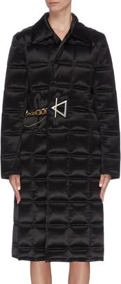 Bottega Veneta Shawl collar chain buckle wrap quilted padded coat