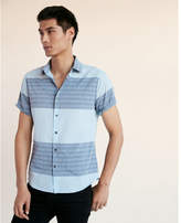 Express soft wash color block stripe short sleeve cotton shirt