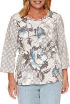 Alfred Dunner Northern Lights 3/4 Sleeve Crew Neck Knit Blouse-Plus
