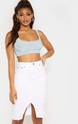 PrettyLittleThing Tall White Midi Distressed Denim Skirt