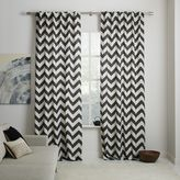 Cotton Canvas Zigzag Printed Curtain - Slate