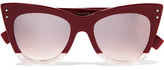 Fendi Cat-eye Two-tone Acetate Sunglasses - Burgundy