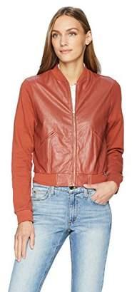 Majestic Filatures Women's Cotton Bomber Jacket w/Leather Yoke