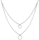 Rina Limor Fine Jewelry Silver & 0.10 Total Ct. Diamond Double Pendant Necklace