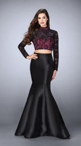 La Femme Stunning High Neck Beaded Two-piece Mermaid Dress 23995