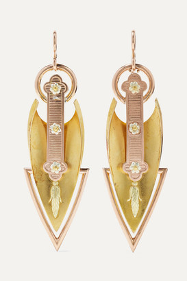 Fred Leighton 1880s 20-karat Yellow, Rose And White Gold Earrings