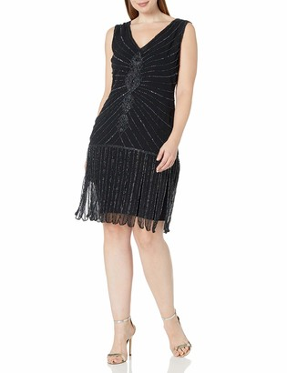 Unique Vintage Women's Plus Size 1920s Deco Beaded Fringe Aelita Flapper Dress