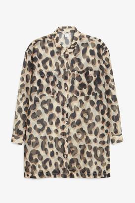 Monki Sheer shirt dress