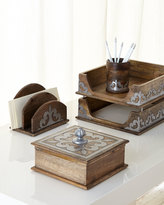GG Collection G G Collection Wood & Metal Inlay Pencil Holder