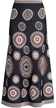 Alaia Textured Geometric Burst Knit A-Line Skirt