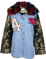 Forte Couture Camouflage Sleeves Denim Jacket
